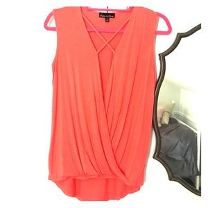 Alison Andrews- coral wrap top (S)